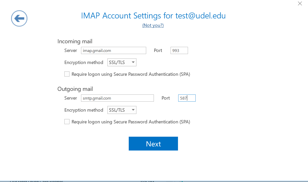 IMAP Account Settings dialogue box