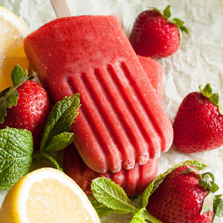 Strawberry Mint Popsicles.