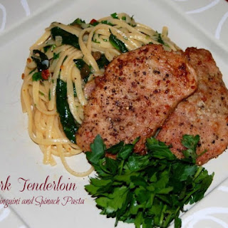 Pork Medallions with Linguine and Spinach Pasta.