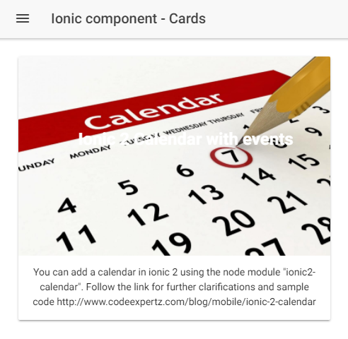 Ionic 2 components - Cards (Part 1) | CodeExpertz