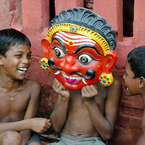 Joy Behind Mask by Debashis Mukherjee - People Street & Candids (  )
