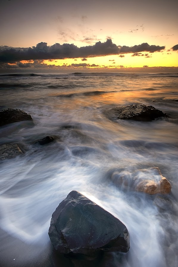 Sunset ... this way  ! n°1 by Fabio Ponzi - Landscapes Waterscapes ( sky, wawes, red, sea, cloud, yellow, rocks )