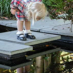 Who's There by Nancy Arehart - Babies & Children Children Candids ( girls, reflection, children, candid, KidsOfSummer )