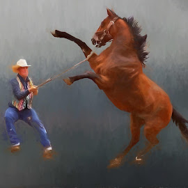 Hang on cowboy by Gaylord Mink - Digital Art People ( horse, animal, man, digital art )