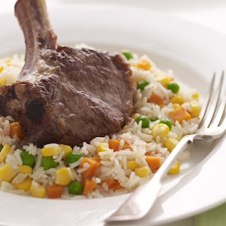 Veal Cutlets with Vegetable Pilaf