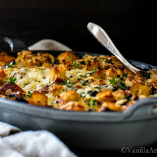 Kale, Mushroom, Leek Savory Bread Pudding.