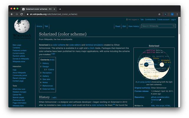 Wikipedia Solarized Dark Theme