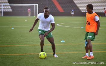 Photo: Alhassan 'Crespo' Kamara and George Davies   [Training camp ahead of Leone Stars v DR Congo on 10 September 2014 (Pic © Darren McKinstry / www.johnnymckinstry.com)]