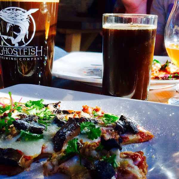 Flatbread Pizza and Watchstander Stout... peakbuster on the far right. YUM. 100% gluten free facility.