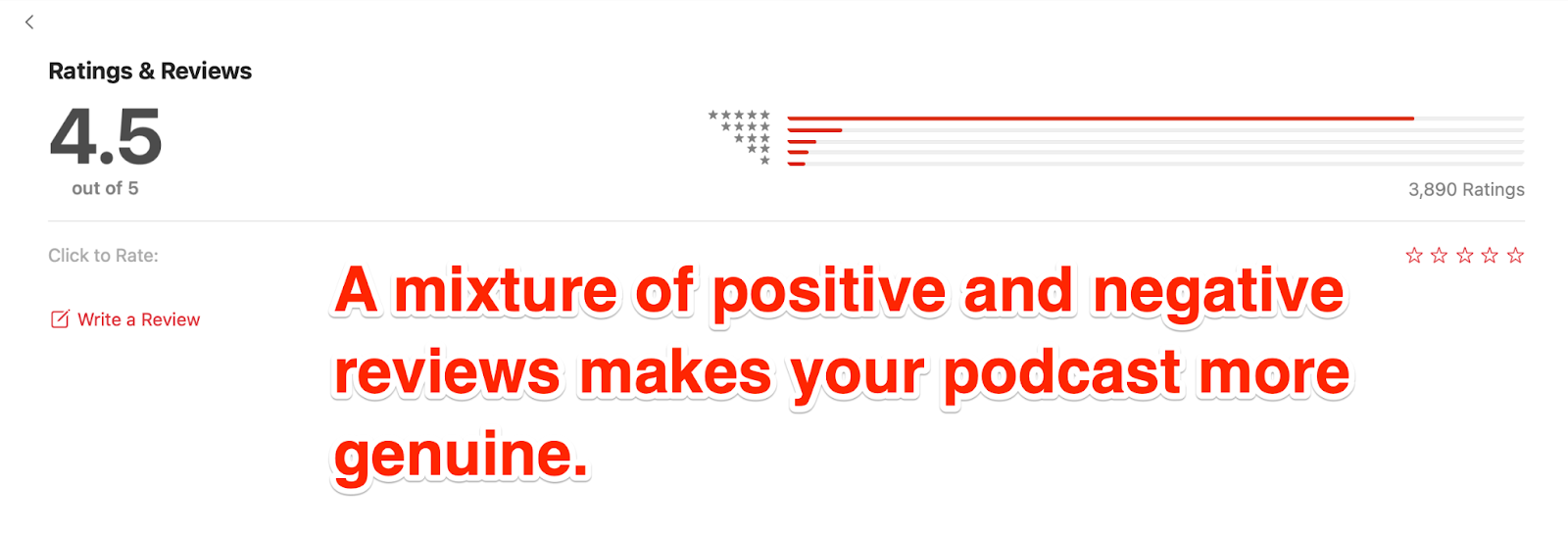 Mixture of good and bad podcast reviews