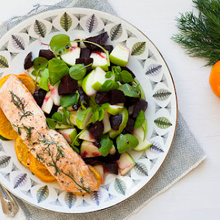 Salmon Papillote, with Balsamic Glazed Beetroot and Apple Salad Recipe