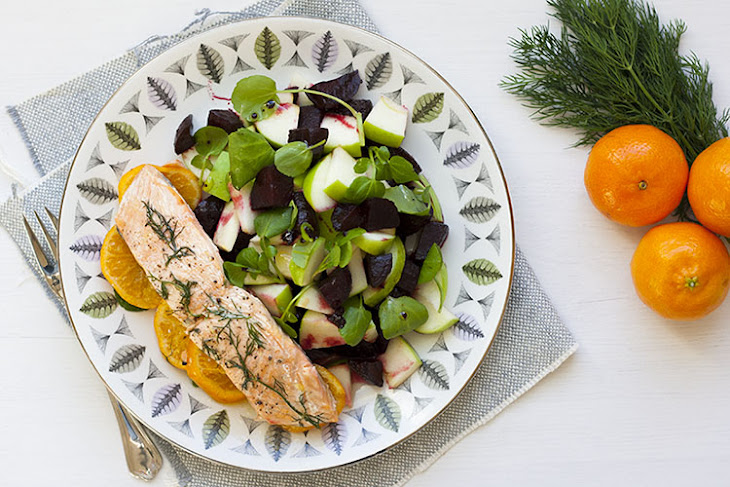 Salmon Papillote, With Balsamic Glazed Beetroot And Apple Salad