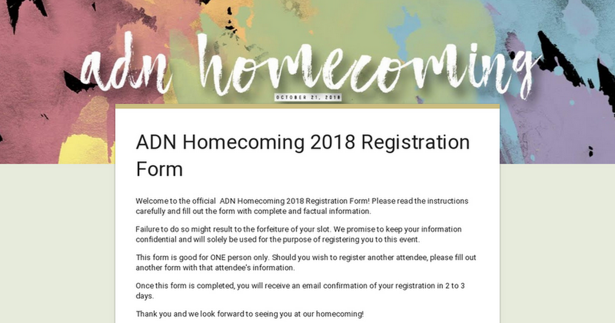 Adn Homecomings Tweet Here Are The Registration Links Fam