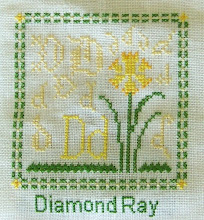 "Photo: Completed 7 March 2010. Sampler Book ""D"" (2006) by Erica Michaels stitched on Cream 32ct linen. The stitching was done in Needle Necessities silks. Stitch count: 53w x 60h."