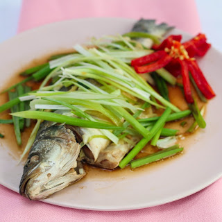 Steamed Sea bass with Ginger and Spring Onions