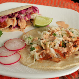 Blackened Tilapia Fish Tacos with Chipotle Aioli Sauce.