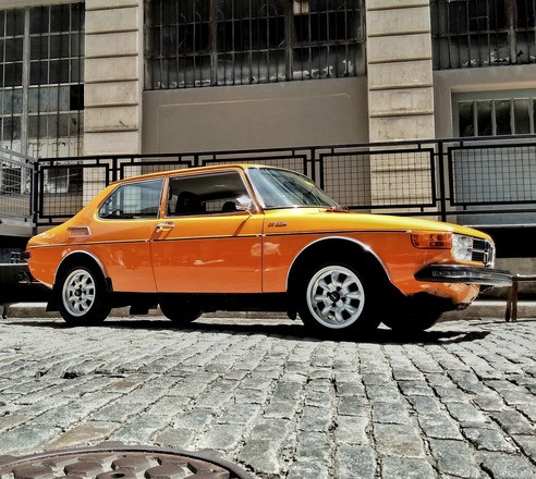 1974 SAAB 99 EMS (sunset orange) Hire Brooklyn