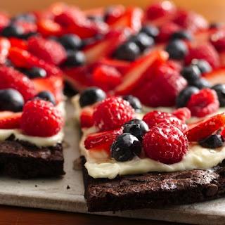 Gluten-Free Brownie and Berries Dessert Pizza.
