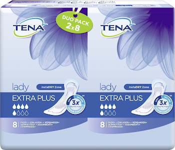 Tena Lady Extra Plus Sanitary Pads - Duo Pack, 2 X 8 Pads