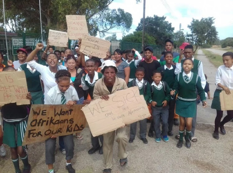 Parents, learners and community members are threatening to close Sandisulwazi Secondary School in Paterson, Eastern Cape, if Afrikaans, the mother tongue of numerous learners at the school, is not taught. Photo: Joseph Chirume