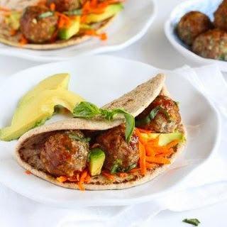 Asian Meatball & Avocado Flatbread Sandwich.