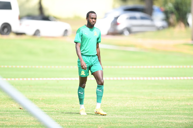 Peter Shalulile and teammates during the Mamelodi Sundowns training session at Chloorkop on April 08, 2021 in Johannesburg, South Africa.