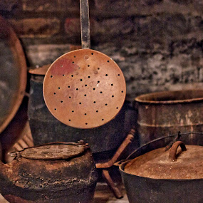 by Brook Kornegay - Artistic Objects Antiques ( sepia, pots and pans, rust, antique,  )