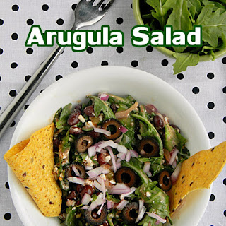 Easy Arugula Black Bean Salad With Cottage Cheese.