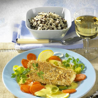 Sesame Coated Halibut With Saffron Sauce.