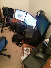 Photo: Add monitors, remove original desk. Bad idea...