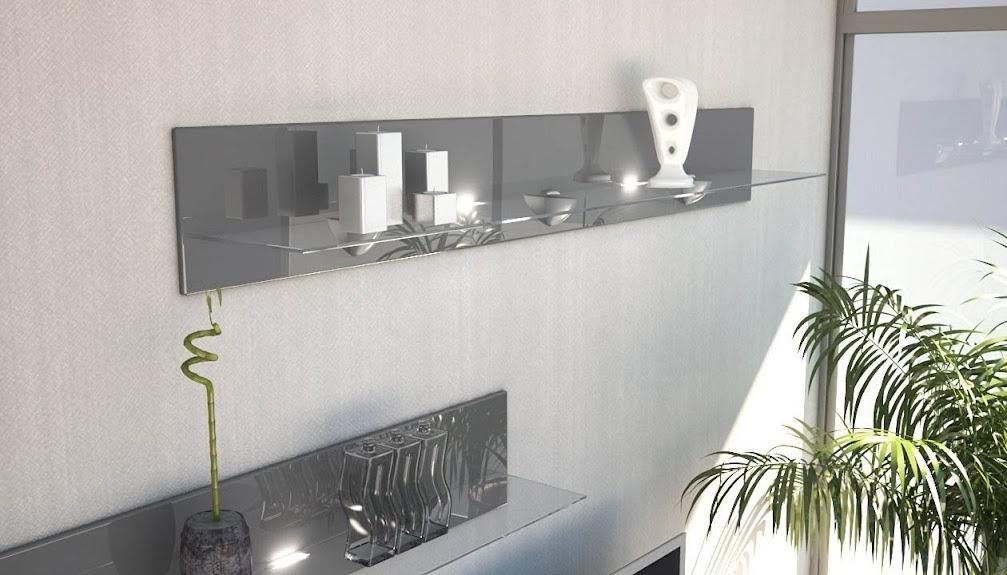 Dettagli su Mensola Ariel 146 con ripiano in vetro mensola parete a muro  salotto soggiorno