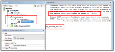 ANSYS - Запись номера узла для связанной точки (Remote Point) посредством команды APDL