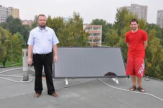 Photo: Solární panel na střeše školy (kolega Jaroslav Verlík a Ondra ze třídy 4. A).