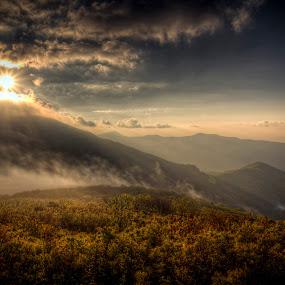 by Jeremy Yoho - Landscapes Mountains & Hills ( clouds, mountains, mountain, fog, sunset, beautiful, sunrays, sunrise, light,  )