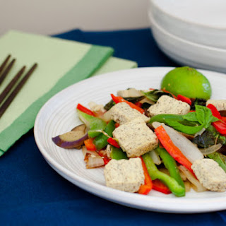 Thai Basil Stir-Fry with Tofu, Eggplant, and Peppers.