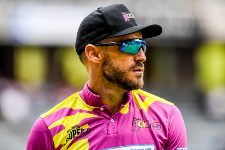 Faf du Plessis (captain) of the Paarl Rocks during the Mzansi Super League match between Jozi Stars and Paarl Rocks at Bidvest Wanderers Stadium on December 09, 2018 in Johannesburg, South Africa.