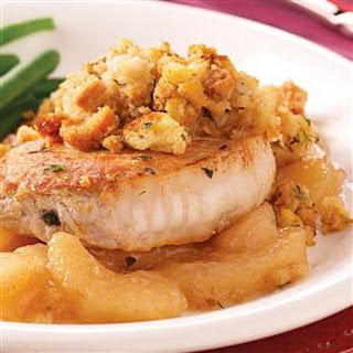 Pork Chops with Apples and Stuffing.