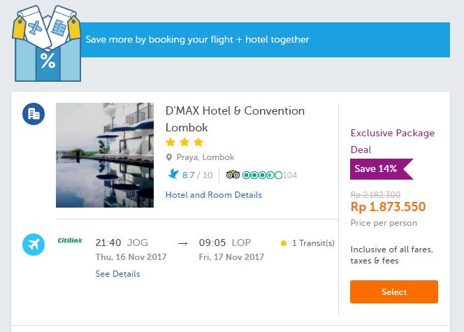 Hasil mencoba menggunakan Paket tiket pesawat + hotel lebih murah dari pada pilihan sendiri