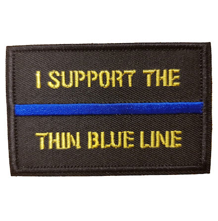 "Tygmärke ""I support the thin blue line"" med kardborre"