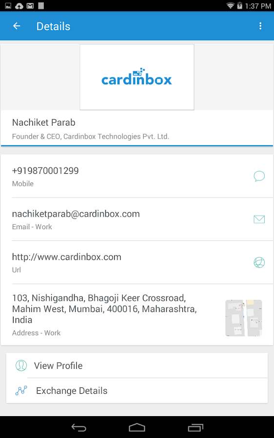 Cardinbox - Easily share your business cards.- screenshot