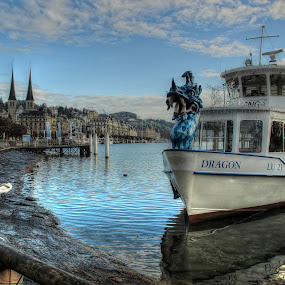 The Dragon Boat by Carol Lauderdale - Transportation Boats ( christmas time, lake lucerne, switzerland, boats, public transportation )