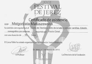 Photo: 2013r. kurs techniki i stylu w tańcu z bata de cola, studio choreograficzne stylu Romeras prof. Rocio Coral; poziom średniozaawansowany (15 godzin); XVII Festival de Jerez