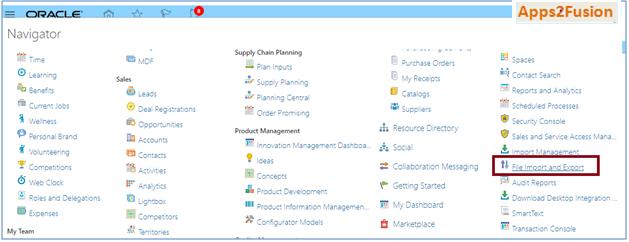 Oracle PIM Cloud - Item Creation using FBDI