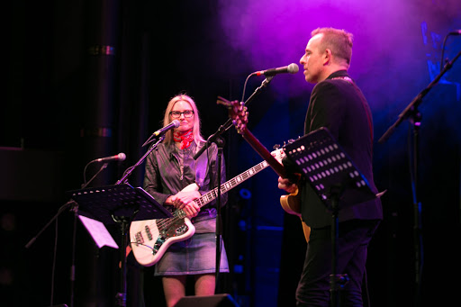 Aimee Mann & Ted Leo.jpg - Aimee Mann and Ted Leo have become JoCo staples, here performing at night on Westerdam.