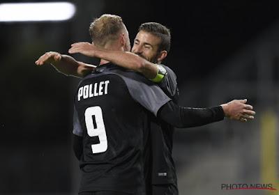 David Pollet (Eupen) réagit après la victoire d'Eupen face au Cercle de Bruges 2-0