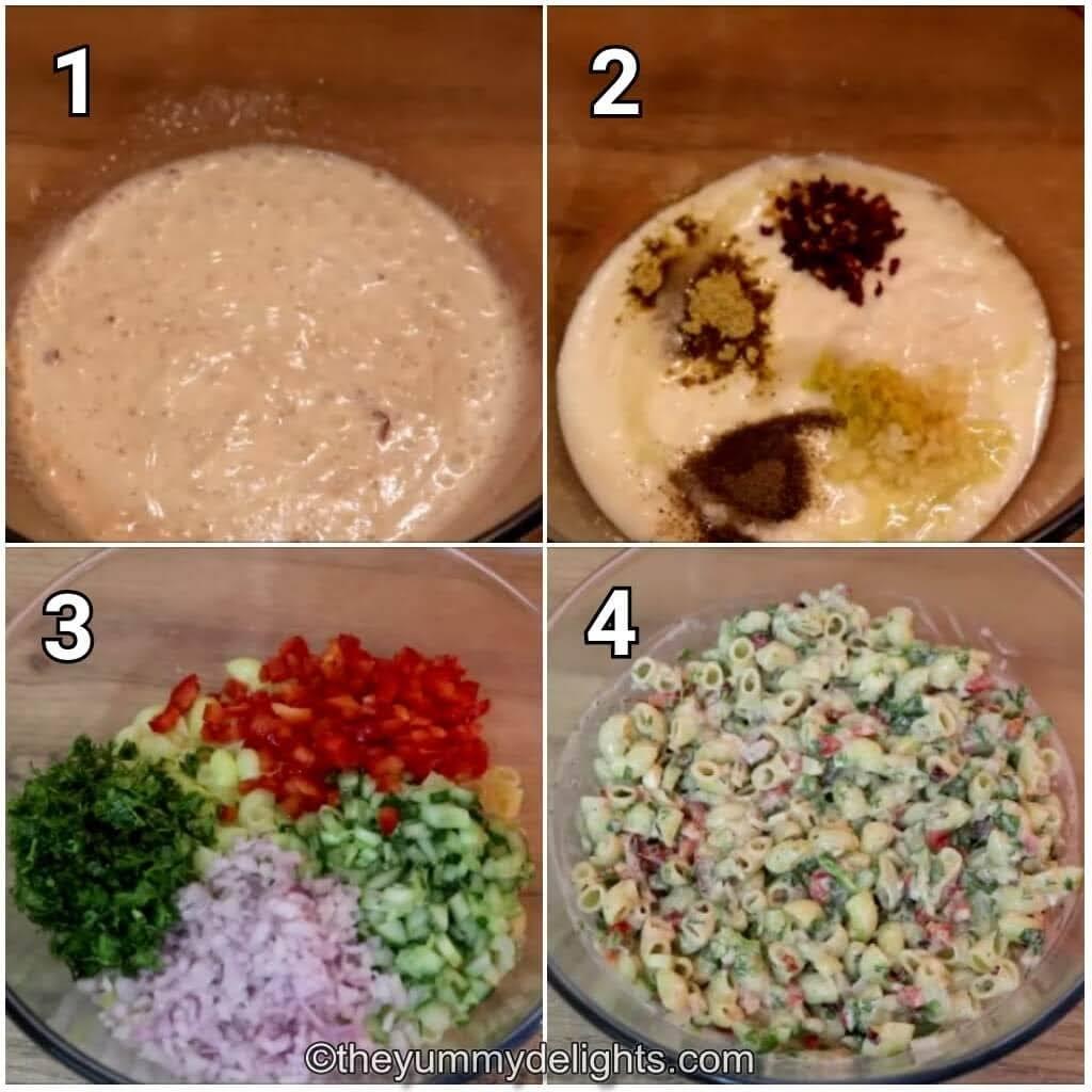 step by step image collage of making greek yogurt macaroni salad