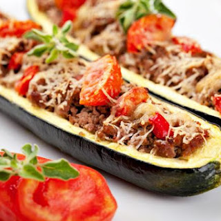 Zucchini Stuffed With Meat And Tomatoes