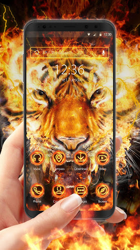 Flame Cool Tiger- APUS Launcher Free Theme - screenshot