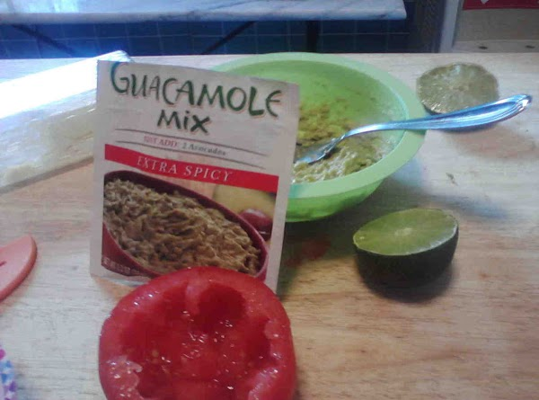 Mash avacados with packet of guacamole mix, squeeze juice of half lime, mix. Best...