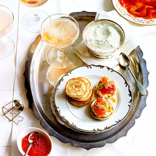 Blini With Smoked Trout, Herbed Crème Fraîche And Fennel.